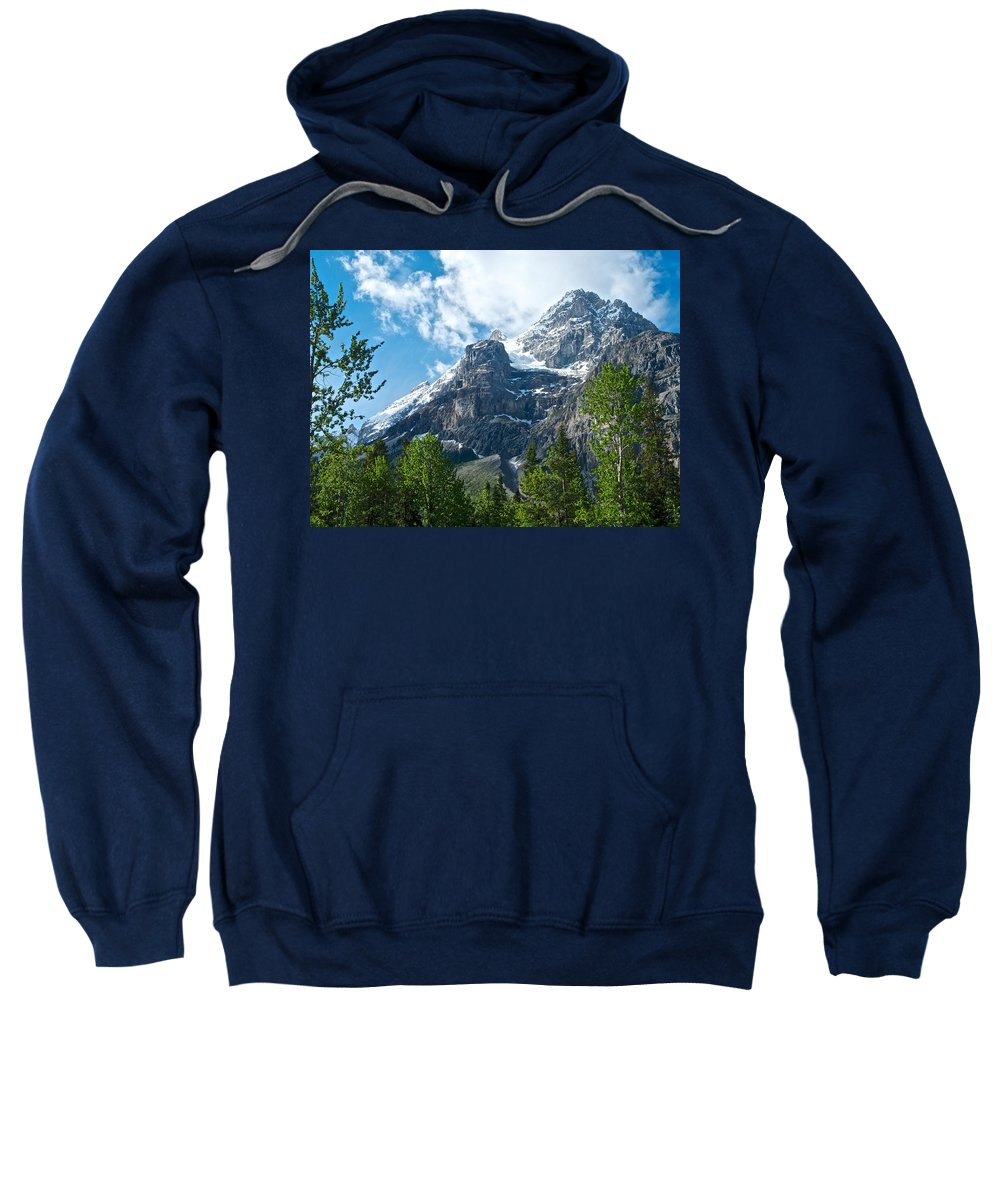 Glacier Seen From Kicking Horse Campground In Yoho Np Sweatshirt featuring the photograph Glacier Seen From Kicking Horse Campground In Yoho Np-bc by Ruth Hager