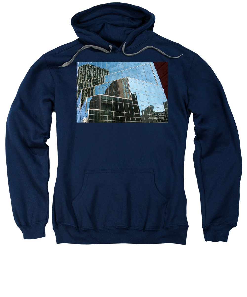Fort Worth Texas Window Windows Building Buildings Structure Structure Reflection Reflections Cityscape Cityscapes City Cities Line Lines Shape Geometric Shapes Geometry Glass Landscape Landscapes Architecture Sweatshirt featuring the photograph Glass Art by Bob Phillips