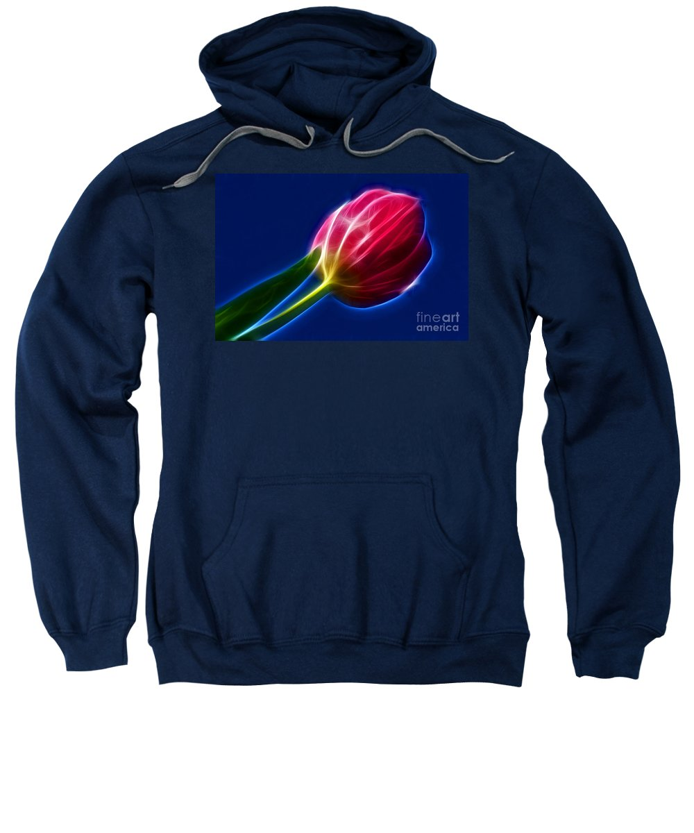 Photography Sweatshirt featuring the photograph Glowing Tulip by Kaye Menner