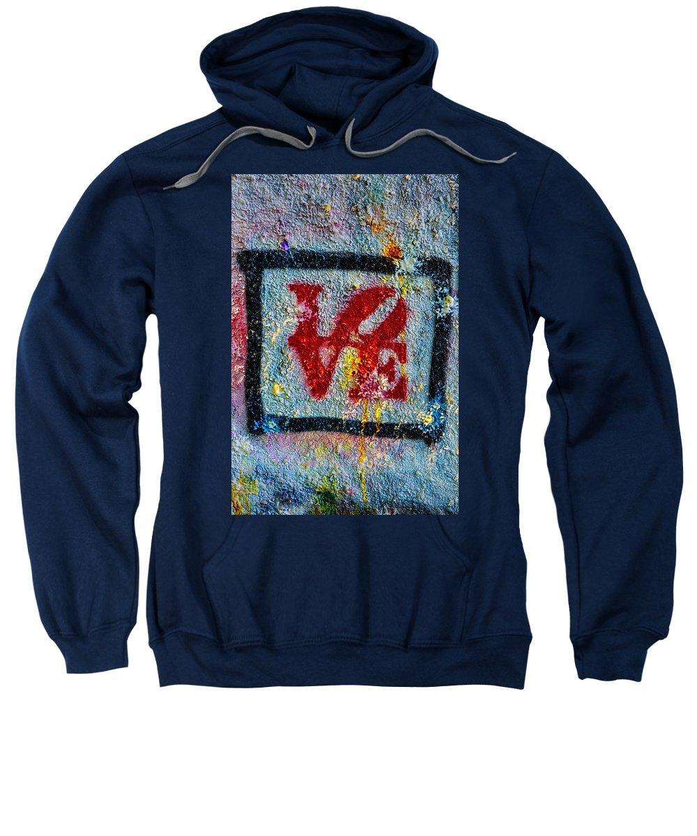 Graffiti Sweatshirt featuring the photograph Graffiti Love by Susan Candelario