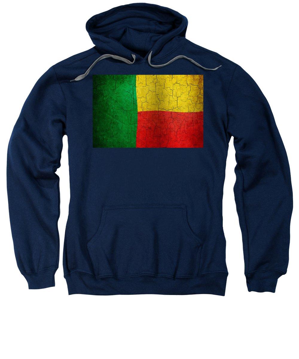Aged Sweatshirt featuring the digital art Grunge Benin Flag by Steve Ball