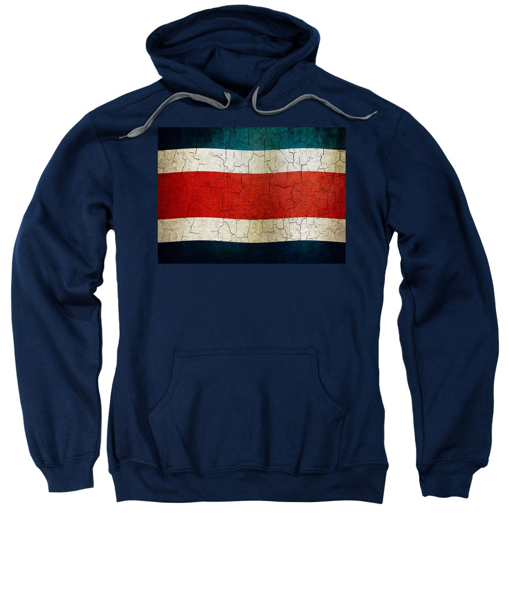 Aged Sweatshirt featuring the digital art Grunge Costa Rica Flag by Steve Ball