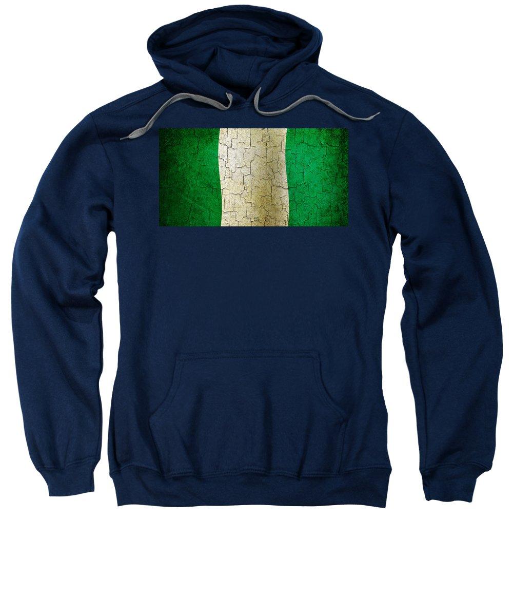 Aged Sweatshirt featuring the digital art Grunge Nigeria Flag by Steve Ball