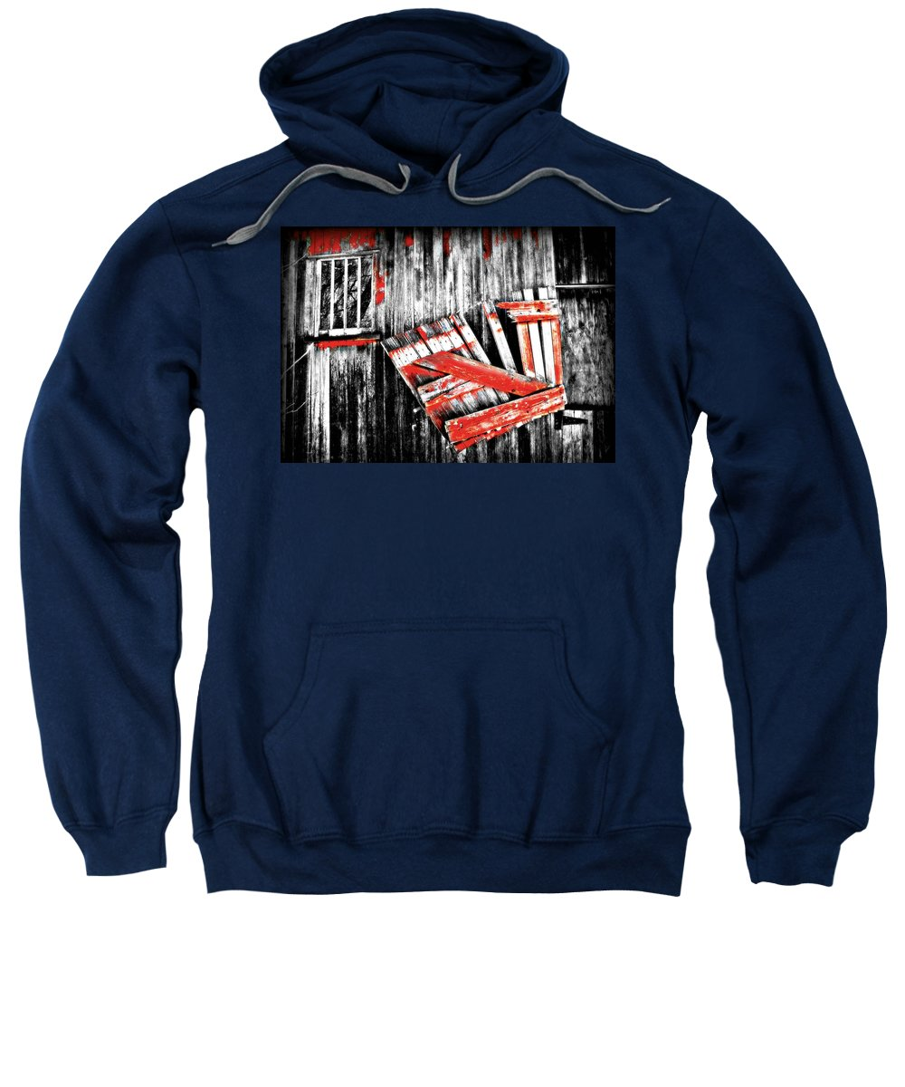 Barn Sweatshirt featuring the photograph Hanging By A Few Nails Bw by Julie Hamilton