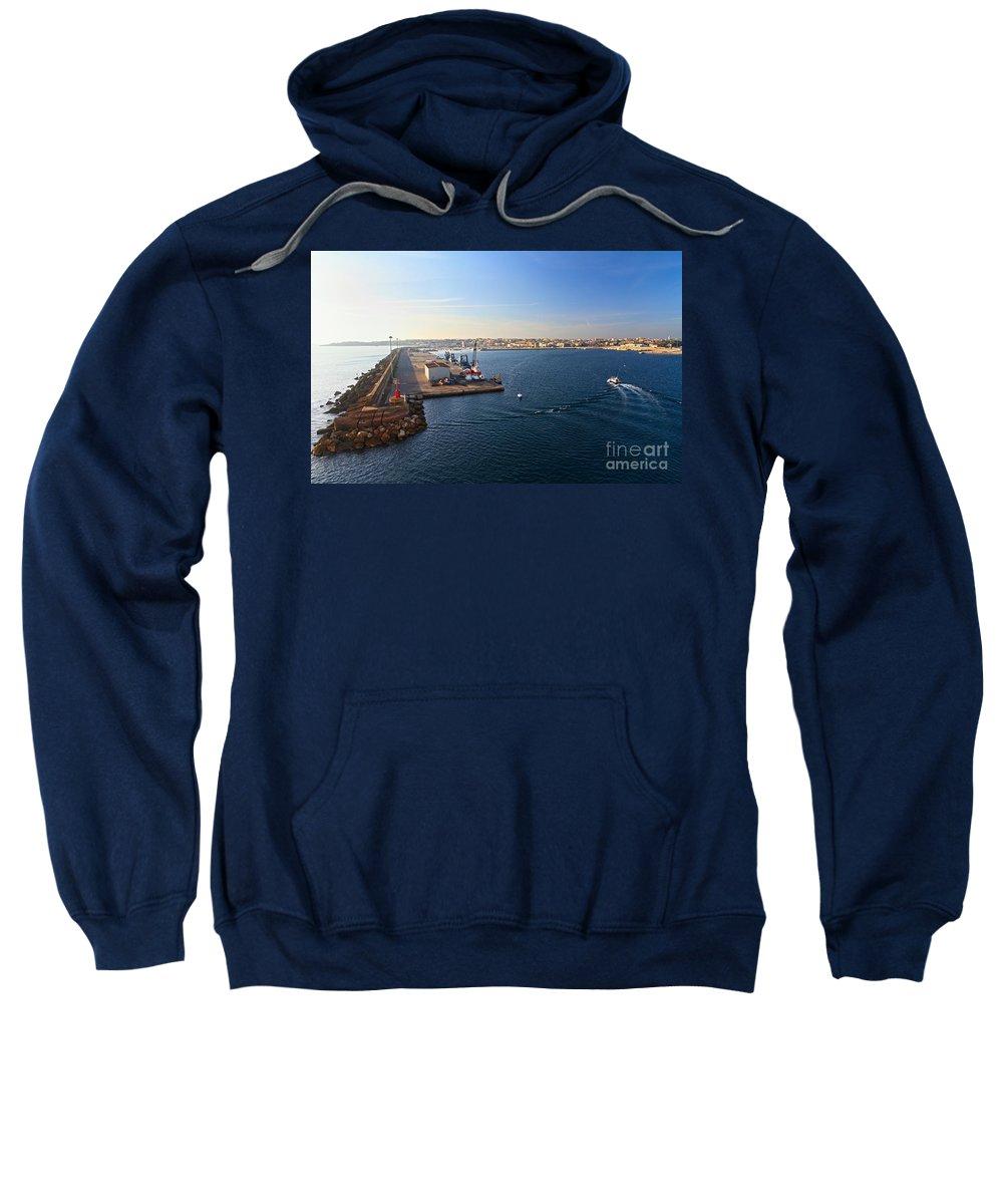 Blue Sweatshirt featuring the photograph harbor in Porto Torres by Antonio Scarpi