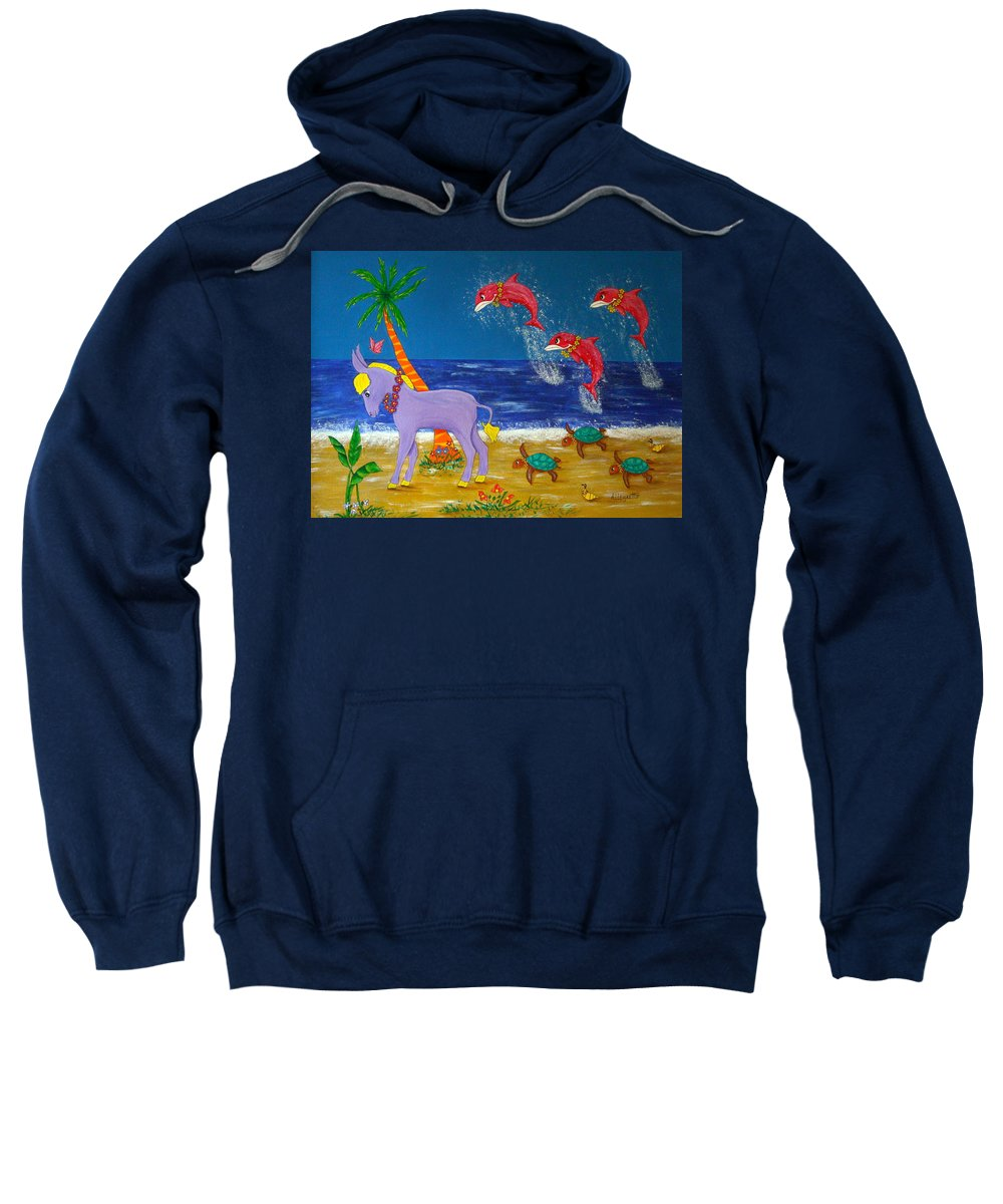 Allegretto Art Sweatshirt featuring the painting Hawaiian Lei Parade by Pamela Allegretto