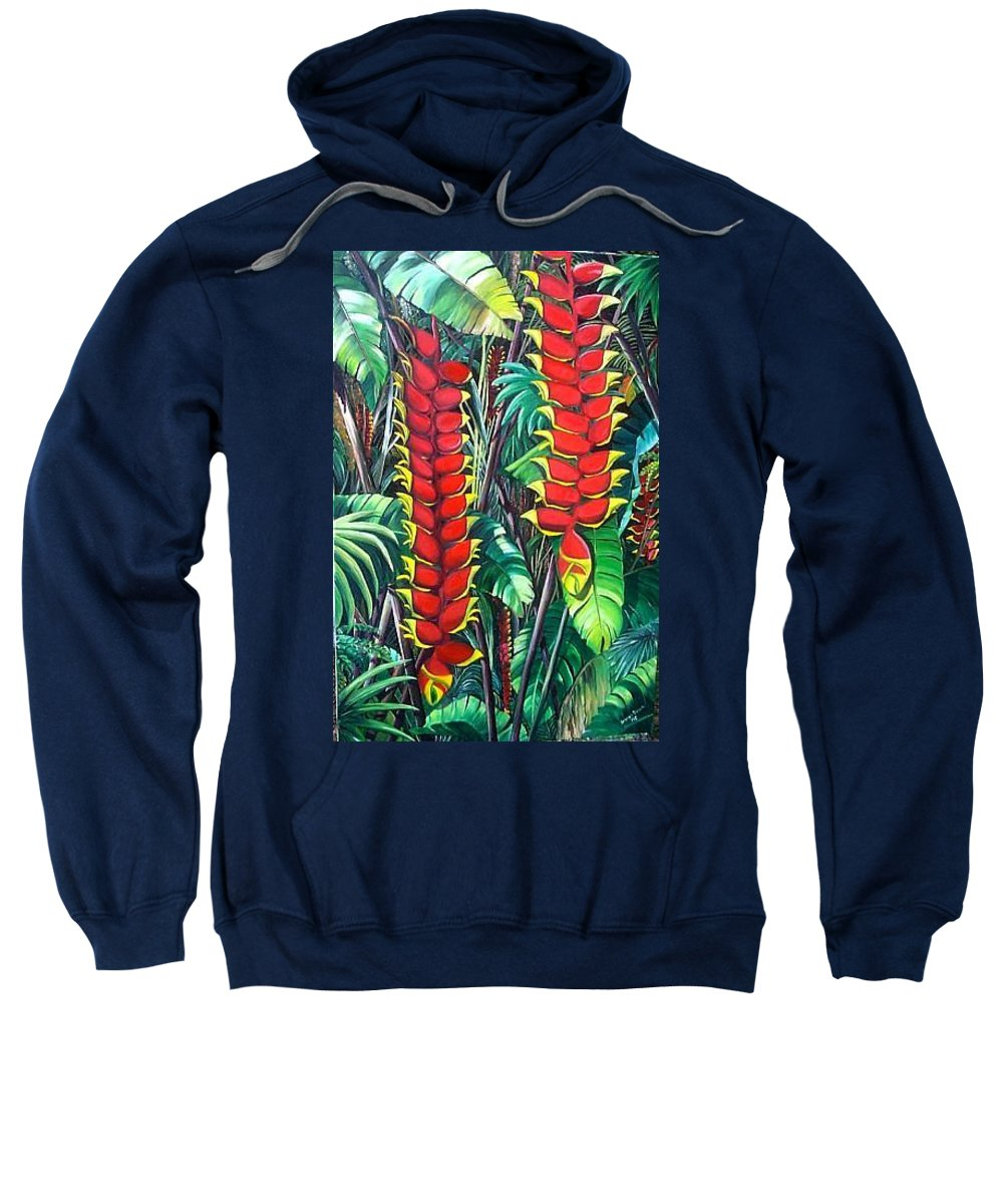 Heliconia Painting Hanging Red Heliconia Tropical Painting Sweatshirt featuring the painting Heliconia Rostrata by Karin Dawn Kelshall- Best