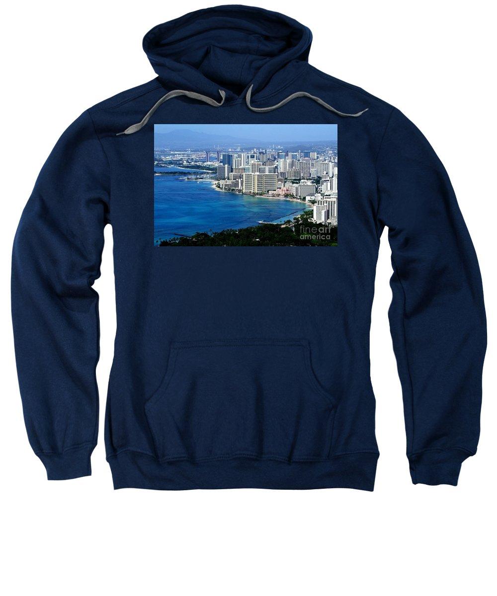 Honolulu Sweatshirt featuring the photograph Honolulu And Waikiki From Diamond Head by Mary Deal