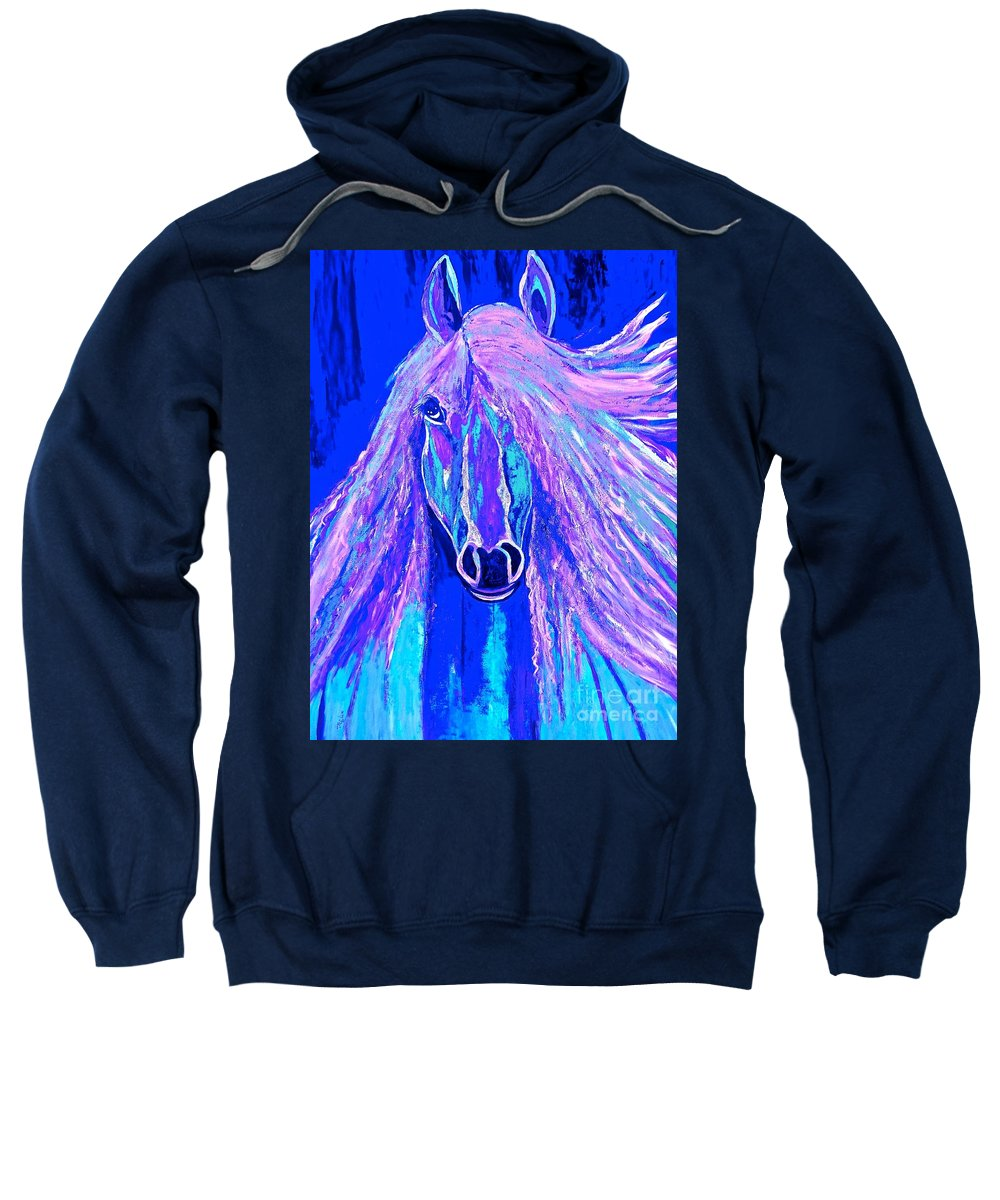 Horse Sweatshirt featuring the painting Horse Abstract Blue And Purple by Saundra Myles