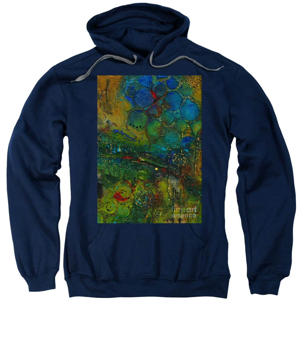 Abstract Mixed Media Sweatshirt featuring the mixed media I Love This Land by Angela L Walker