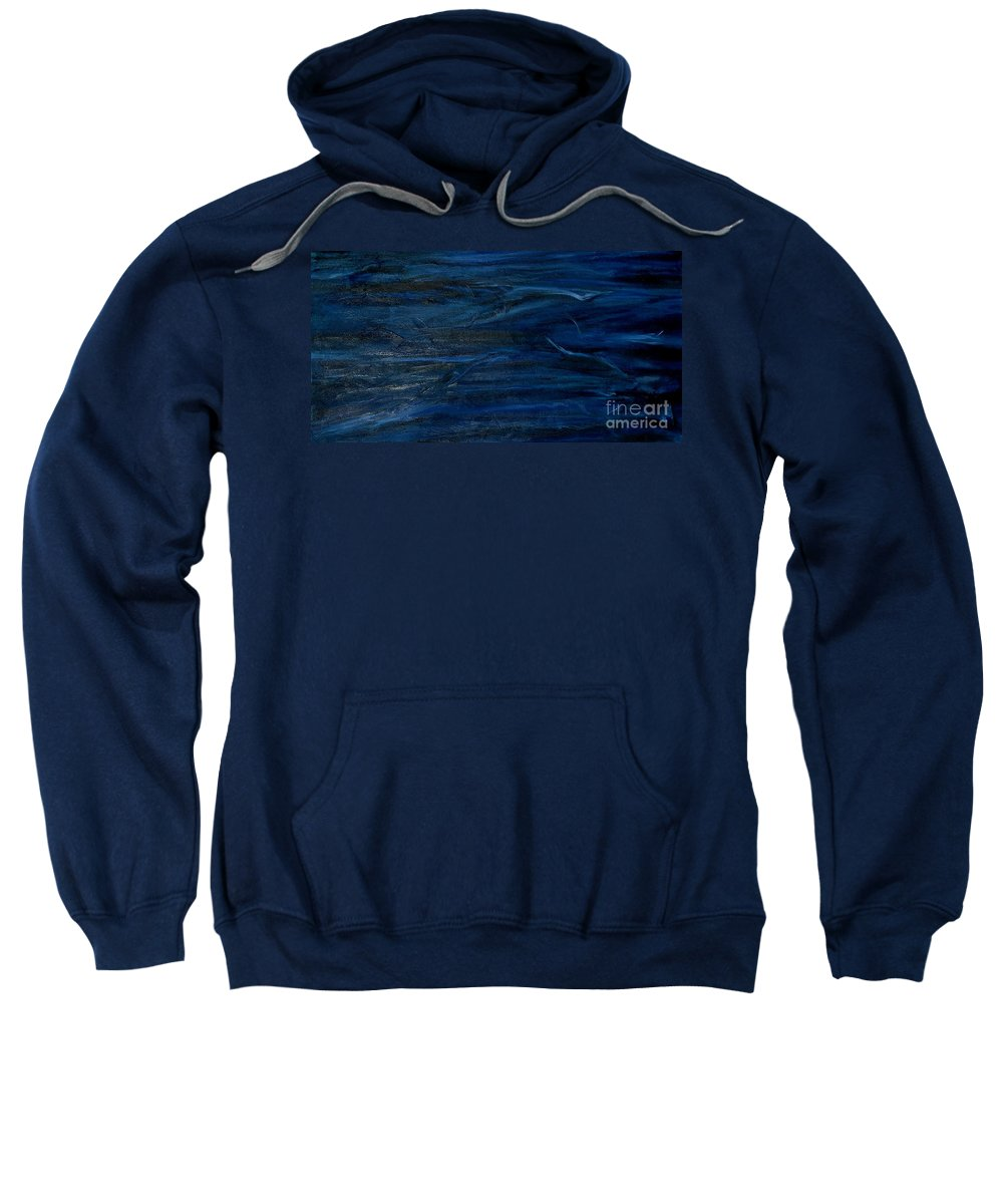Abstract Sweatshirt featuring the painting Immense Blue by Silvana Abel