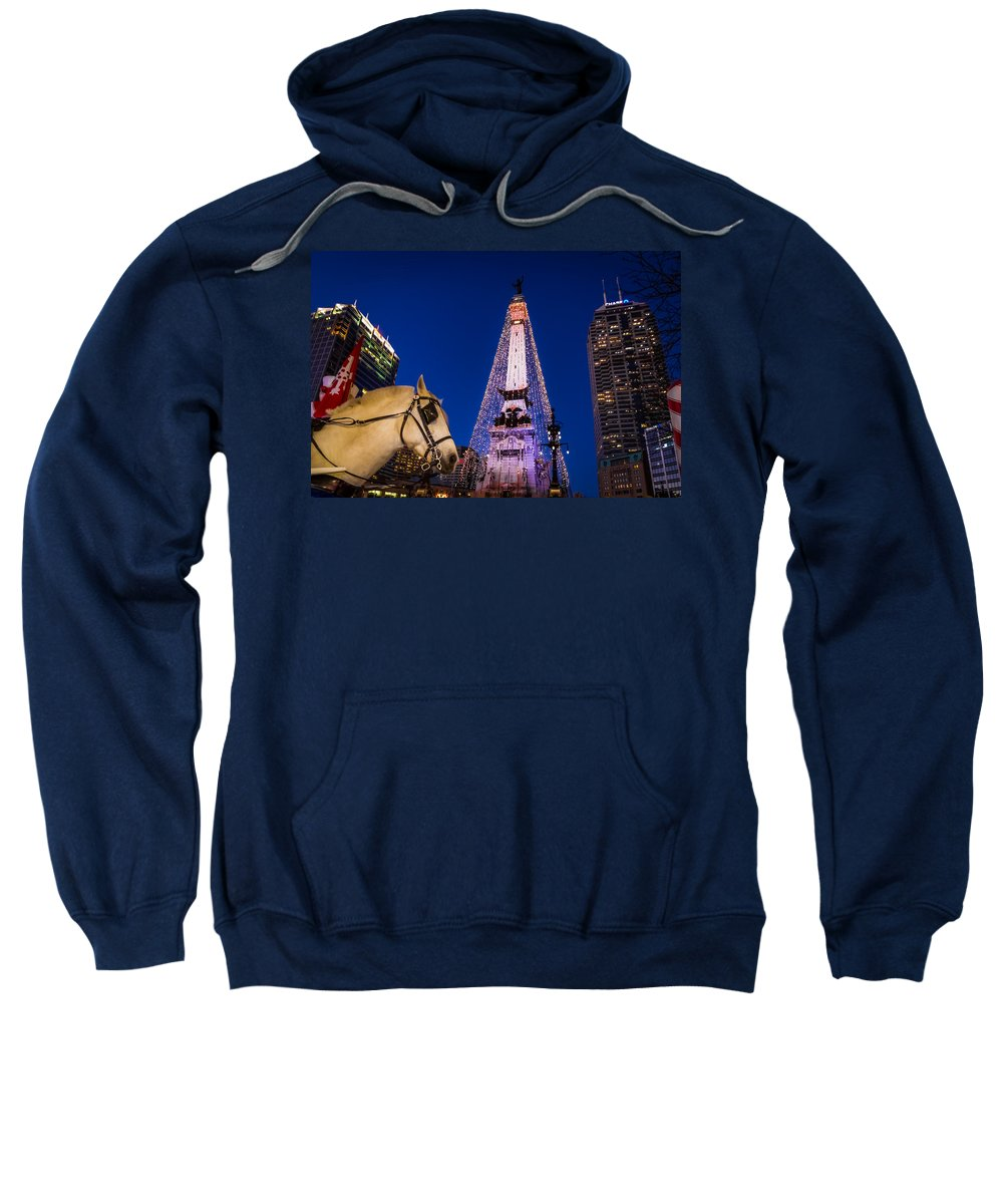 Chase Tower Sweatshirt featuring the photograph Indiana - Monument Circle With Lights And Horse by Ron Pate