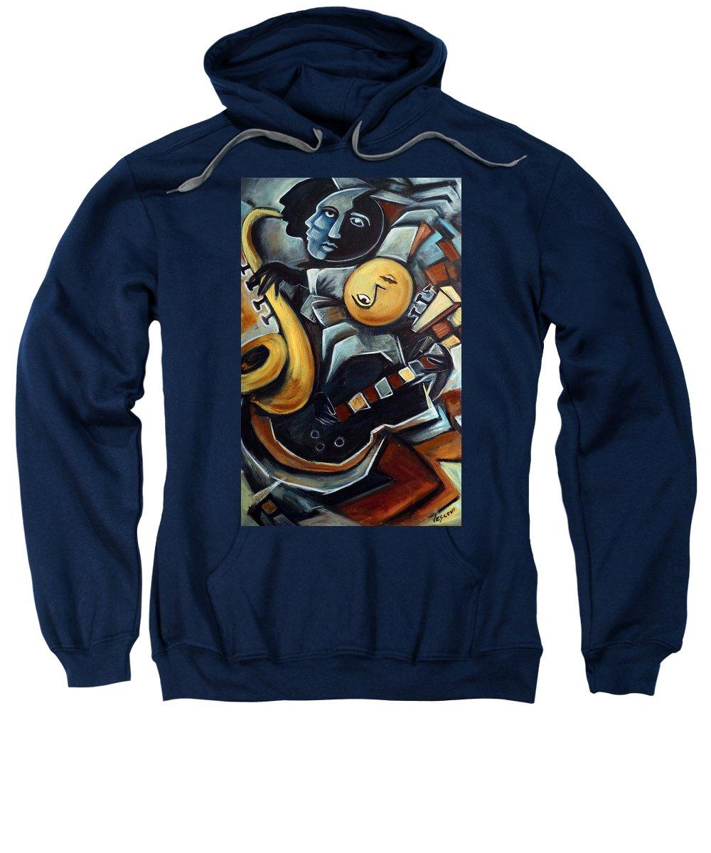 Cubism Sweatshirt featuring the painting Indigo Blues by Valerie Vescovi
