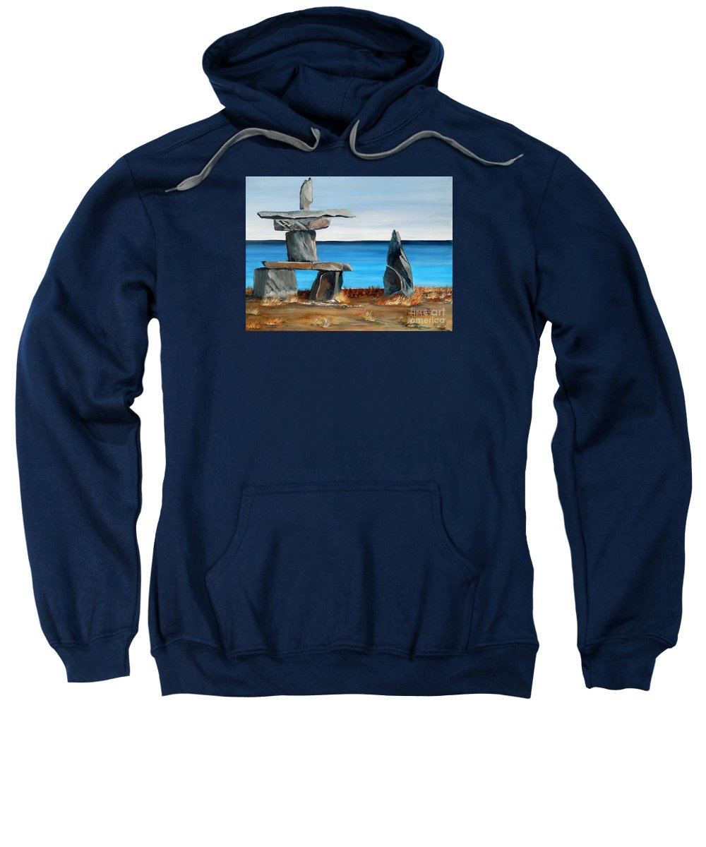 Inuit Sweatshirt featuring the painting Inukshuk 3 by Marilyn McNish