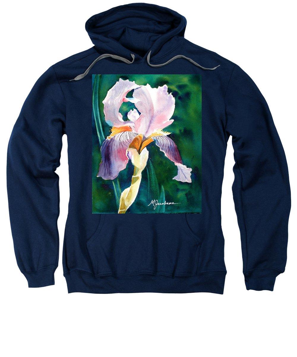 Iris Sweatshirt featuring the painting Iris 1 by Marilyn Jacobson