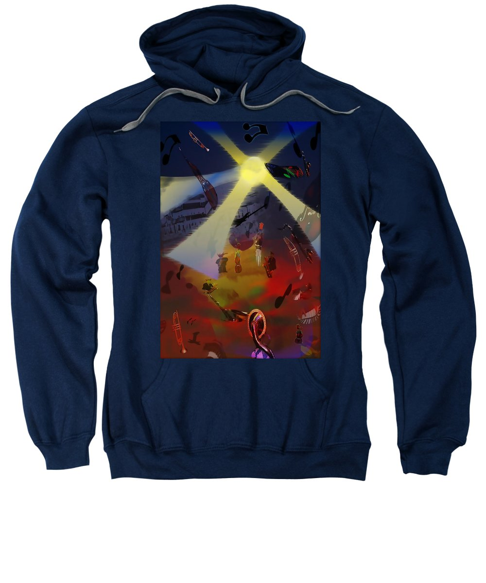 Digital Art Sweatshirt featuring the digital art Jazz Fest II by Cathy Anderson