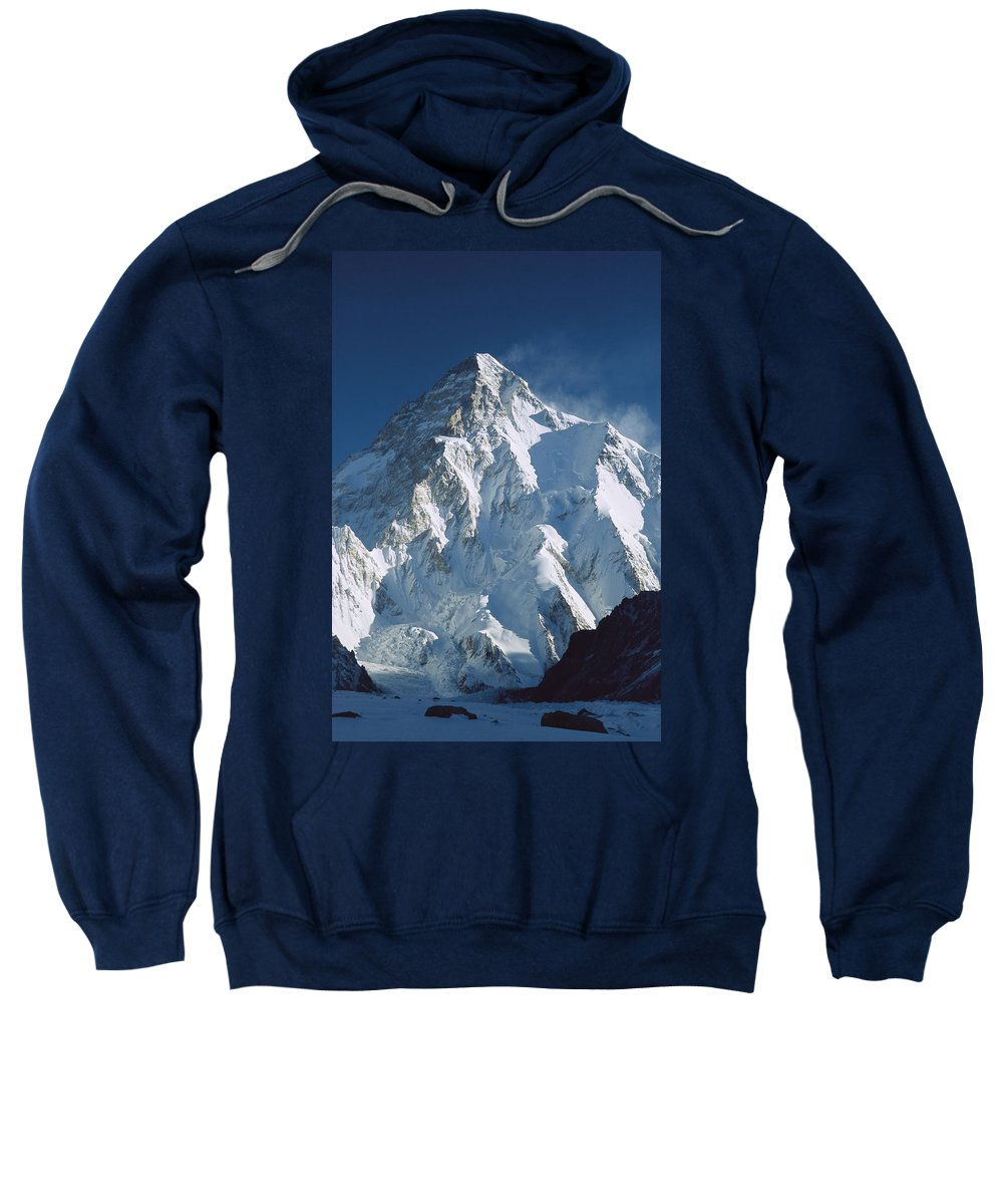 Feb0514 Sweatshirt featuring the photograph K2 At Dawn Pakistan by Colin Monteath