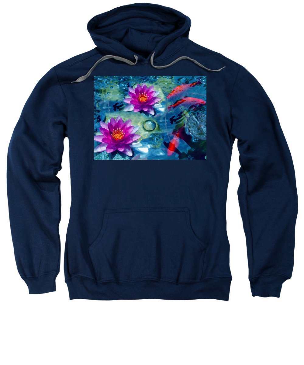 Koi Sweatshirt featuring the mixed media Koi And The Water Lilies by Georgiana Romanovna