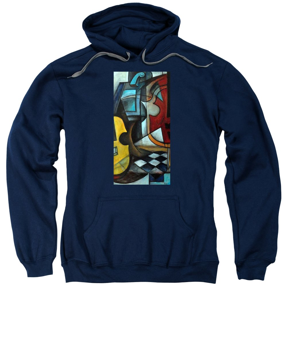 Abstract Sweatshirt featuring the painting La Musique 1 by Valerie Vescovi