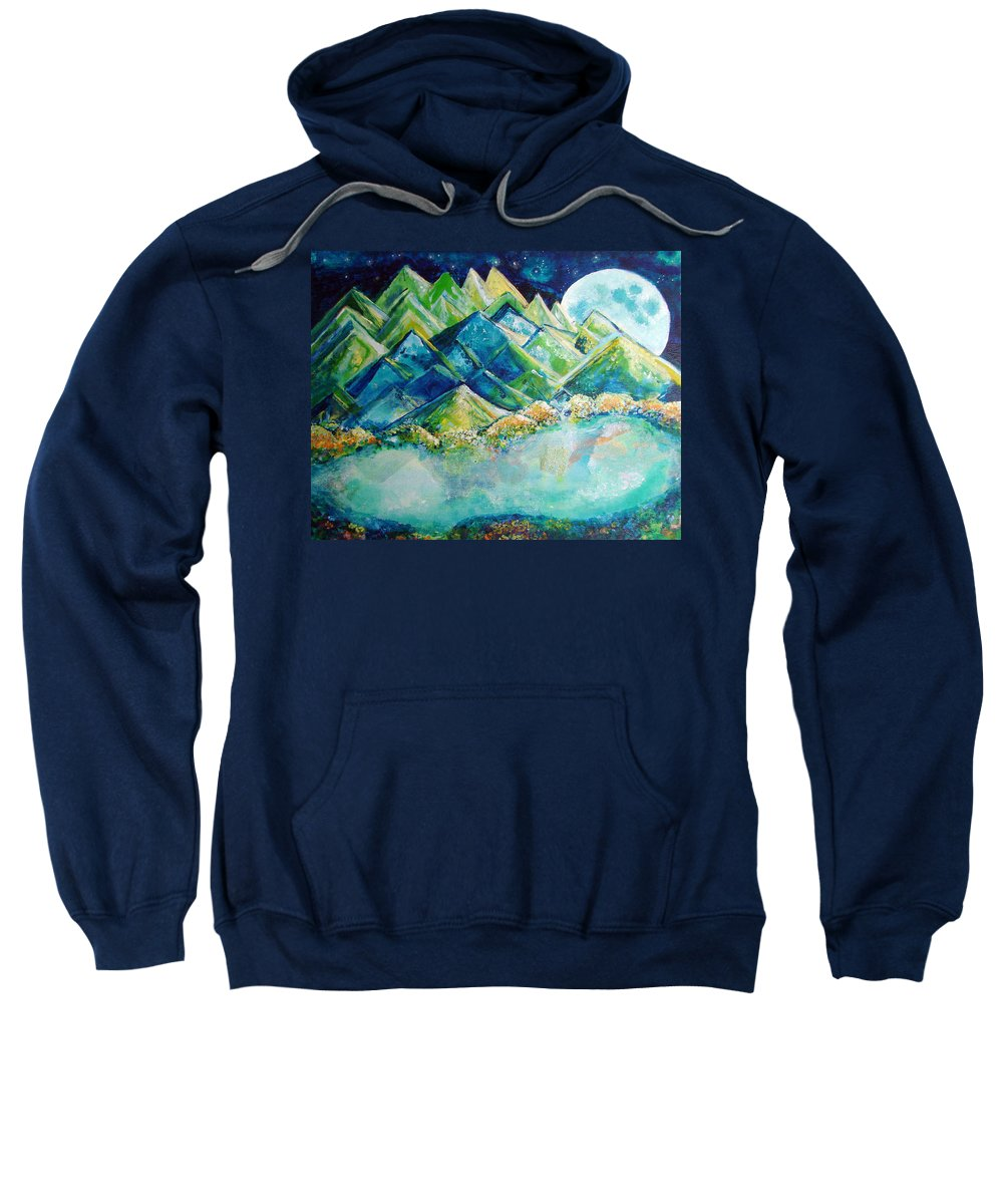 Lake Sweatshirt featuring the painting Lake By The Moon Light by Ashleigh Dyan Bayer
