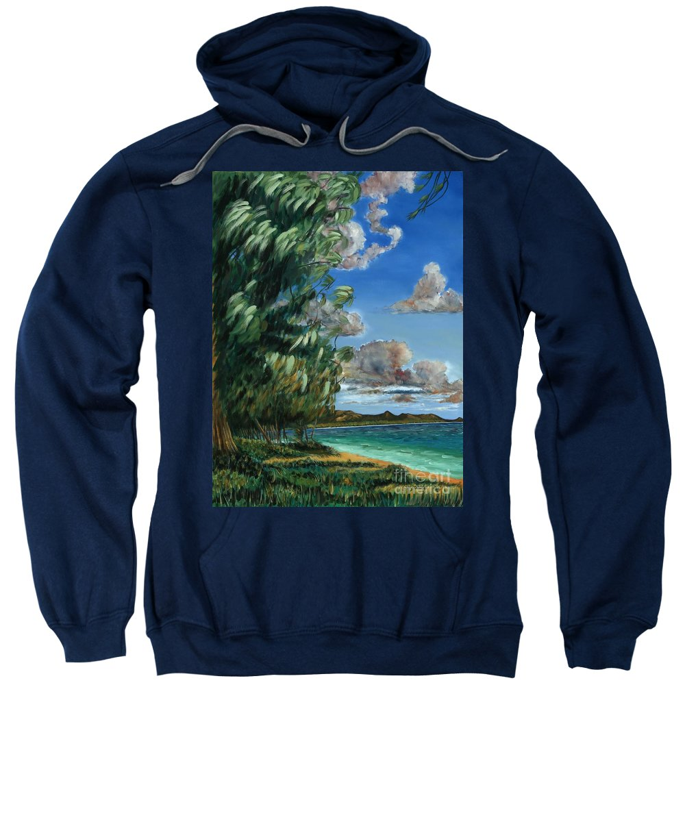 Lanikai Beach Sweatshirt featuring the painting Lanikai Beach by Larry Geyrozaga