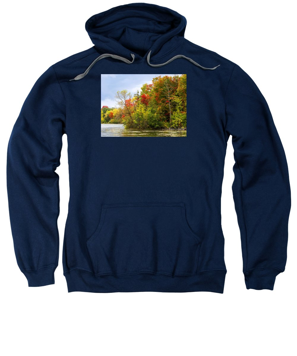 Autumn Sweatshirt featuring the photograph Leaning Into Autumn by Ann Horn