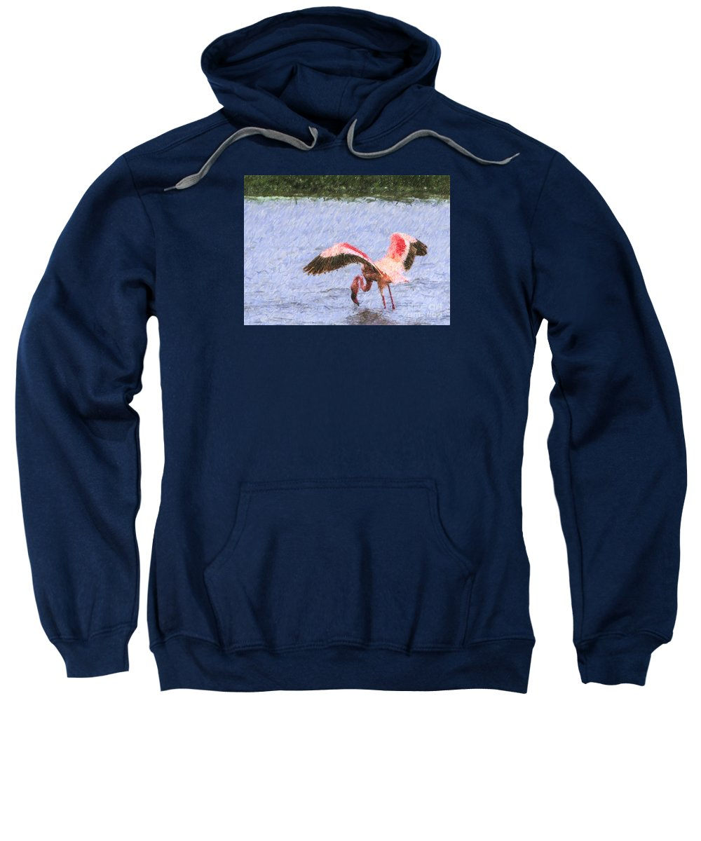 Lesser Flamingo Sweatshirt featuring the digital art Lesser Flamingo Filter Feeding Lake Nakuru Kenya by Liz Leyden