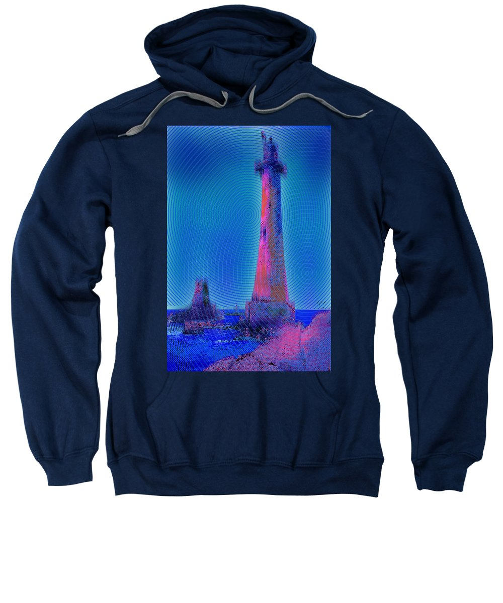 Lighthouse Sweatshirt featuring the painting Light House At Sunset 1 by Tony Rubino