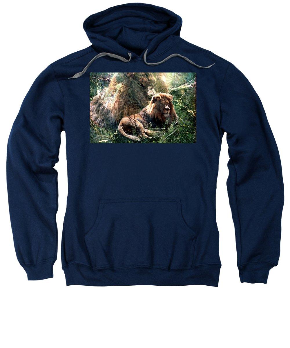 Lion Sweatshirt featuring the digital art Lion Spirit by Lisa Yount