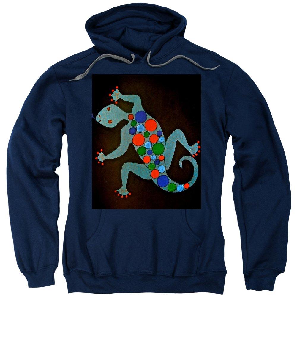 Lizard Sweatshirt featuring the painting Lizard by Stephanie Moore