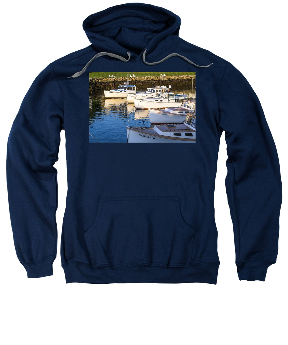 Boat Sweatshirt featuring the photograph Lobster Boats - Perkins Cove -maine by Steven Ralser