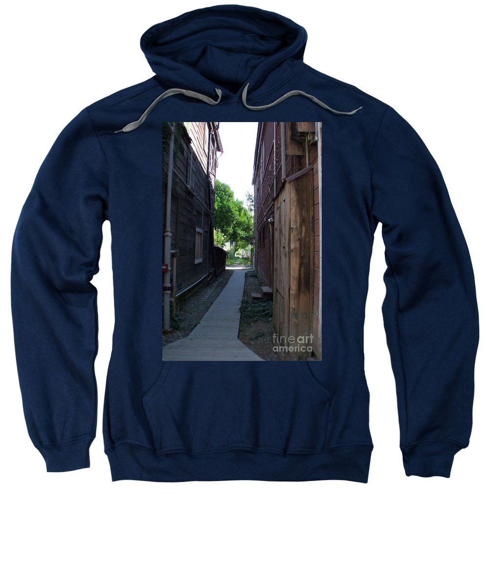 Alleyways Sweatshirt featuring the photograph Locke Chinatown Series - Alleyway With Trees - 4 by Mary Deal