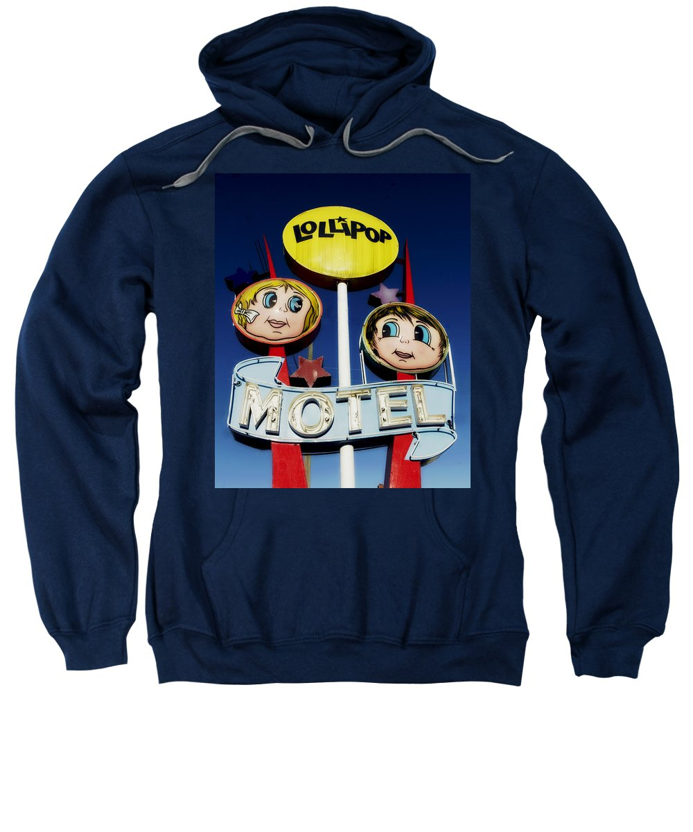 Wildwood Sweatshirt featuring the photograph Lollipop Motel by Mountain Dreams