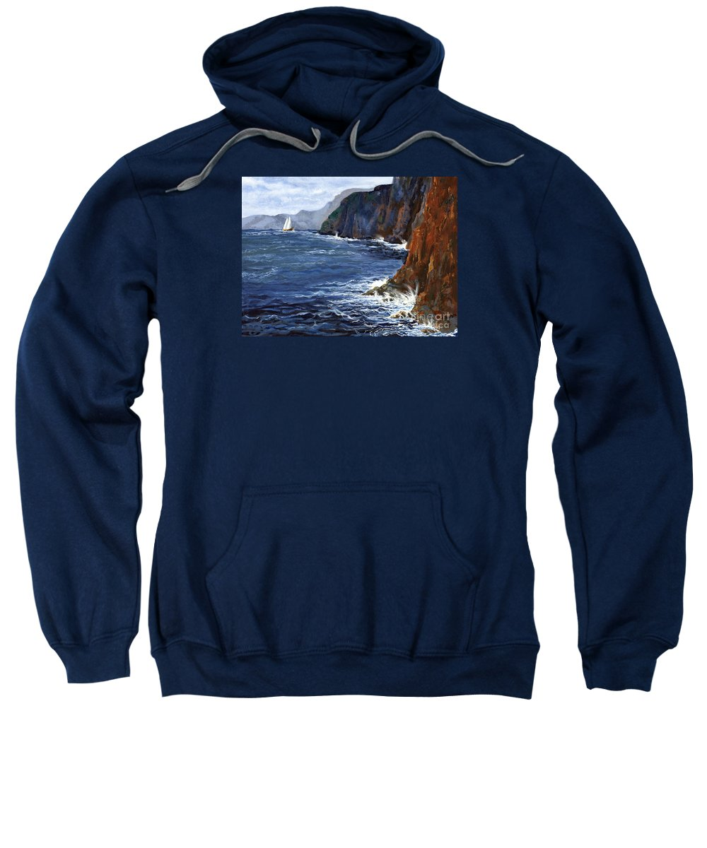 Landscape Sweatshirt featuring the painting Lonely Schooner by Mary Palmer