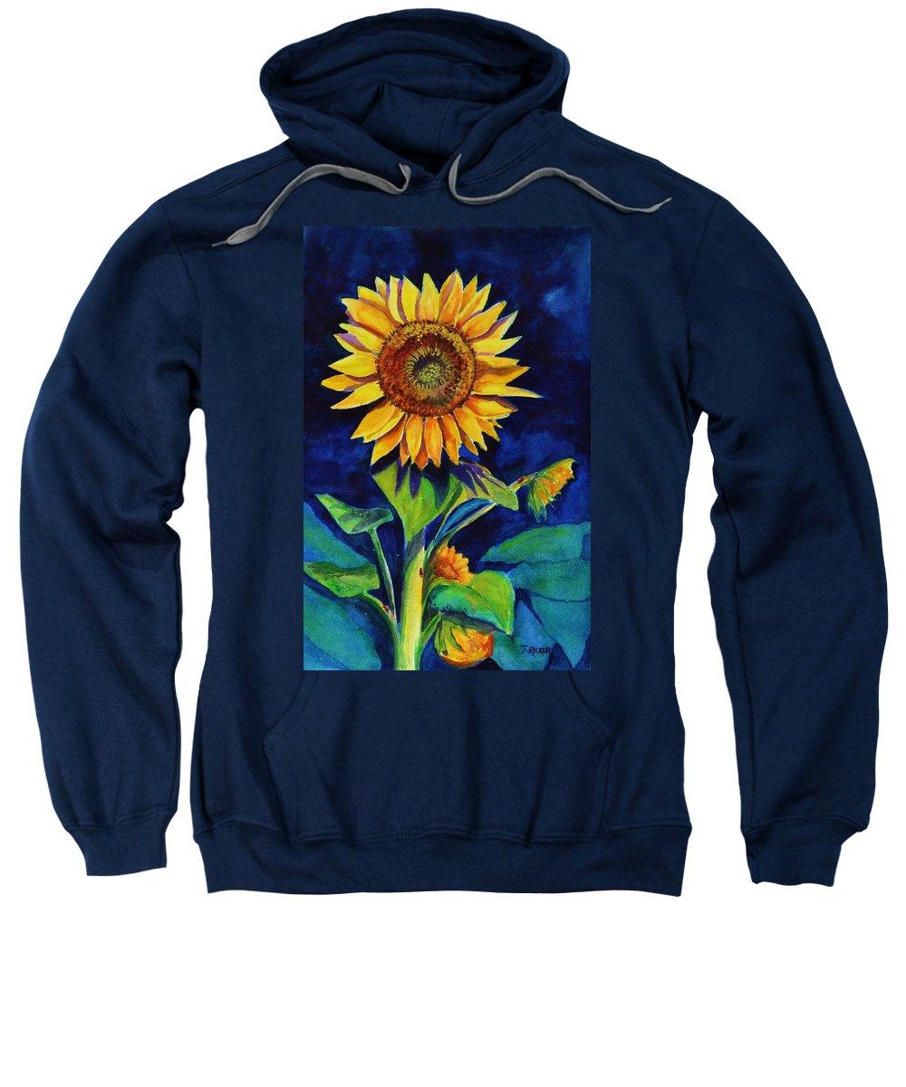 Sun Sweatshirt featuring the painting Midnight Sunflower by Jane Ricker