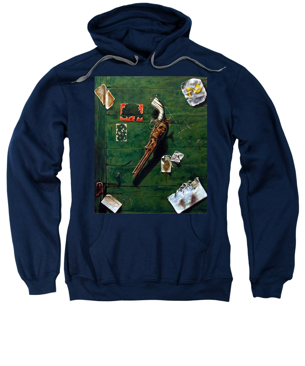 Trompe Le Oil Sweatshirt featuring the painting Lost and Found by Jim Gola