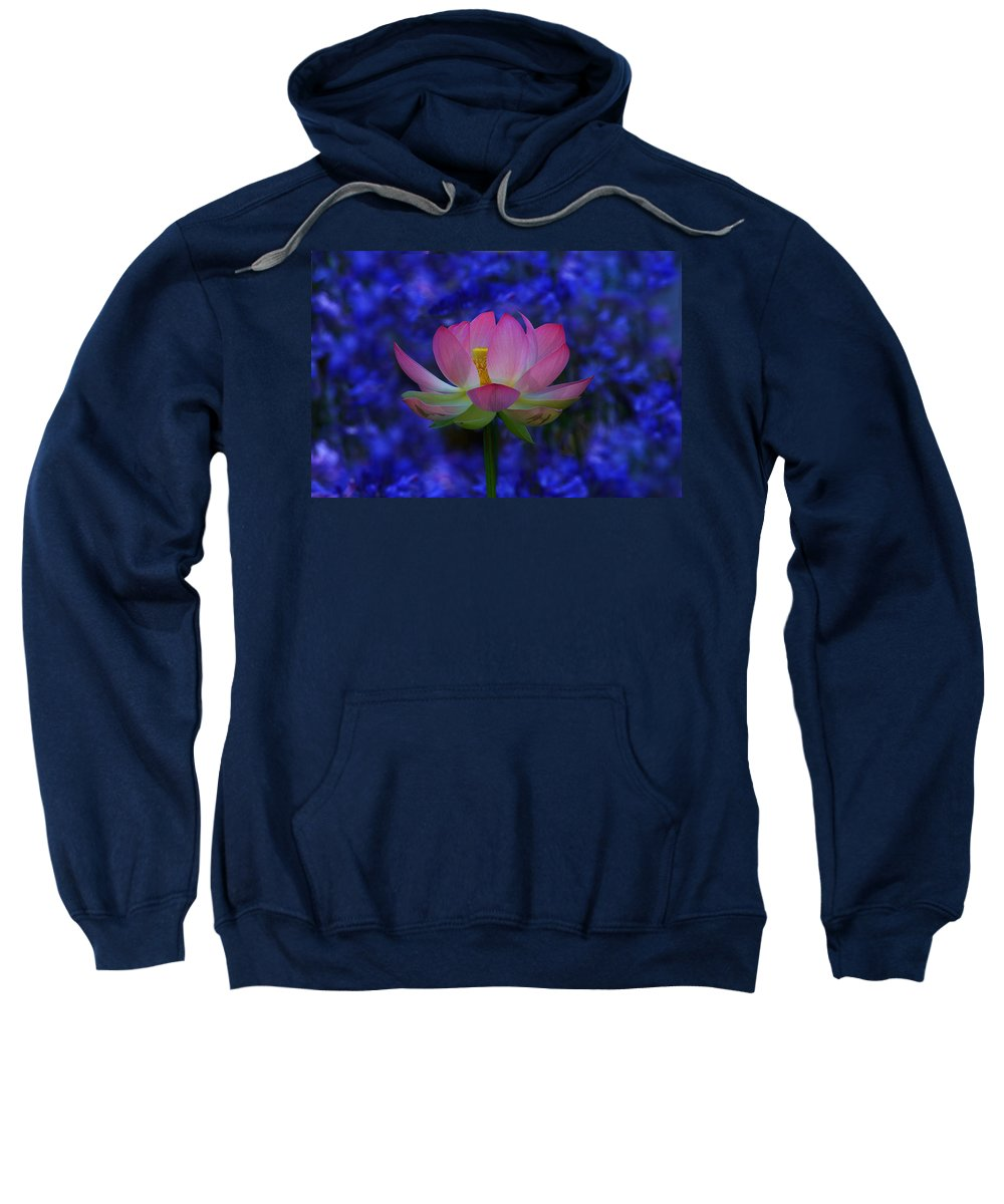 California Sweatshirt featuring the photograph Lotus Flower In Blue by Beth Sargent