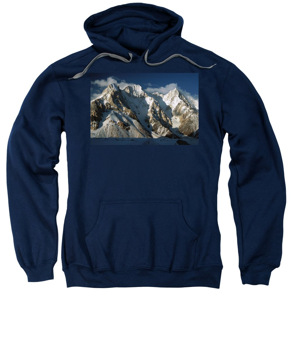 Hhh Sweatshirt featuring the photograph Lower Gasherbrum Peaks Showing Glacial by Colin Monteath