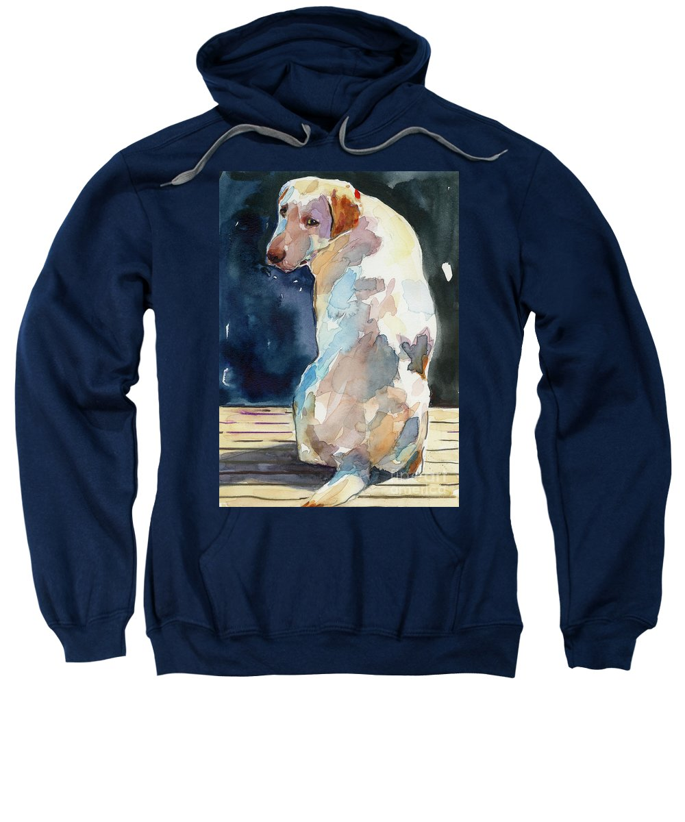 Labrador Retriever Sweatshirt featuring the painting Lucy Moon by Molly Poole