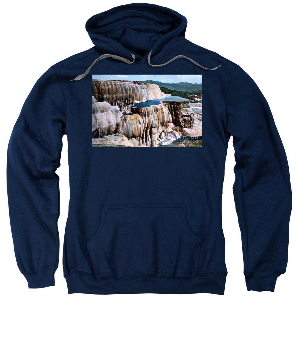 Mammoth Hot Springs Sweatshirt featuring the photograph Mammoth Hot Springs Yellowstone Np by NPS Photo Frank J Haynes