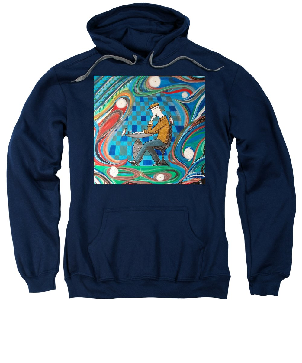 Johnlyes Sweatshirt featuring the painting Man Sitting In Chair Contemplating Chess With A Bird by John Lyes