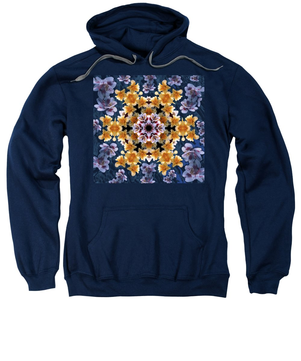 Mandala Sweatshirt featuring the digital art Mandala Alstro by Nancy Griswold