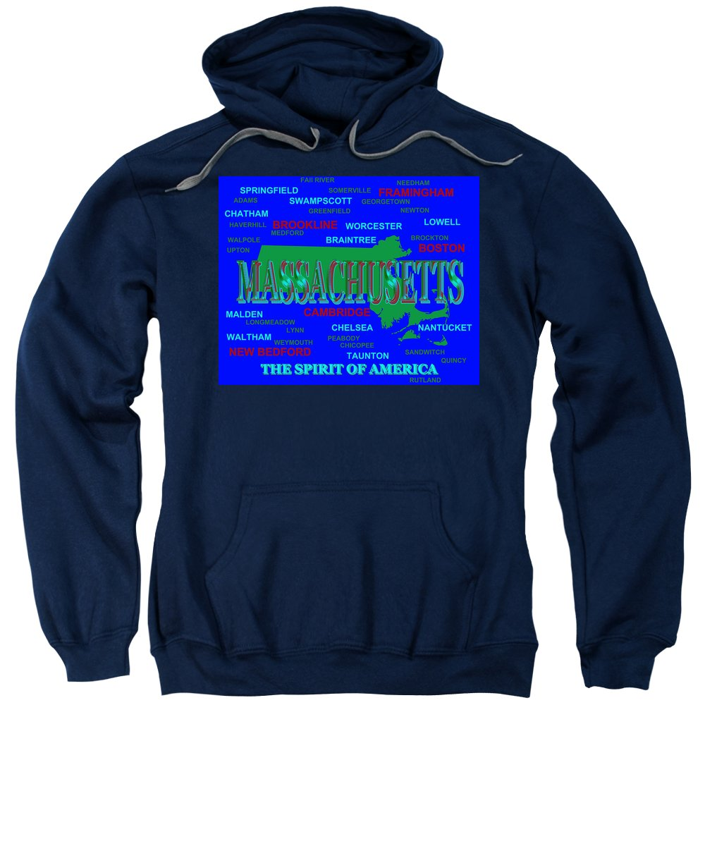 Massachusetts Sweatshirt featuring the photograph Massachusetts State Pride Map Silhouette by Keith Webber Jr