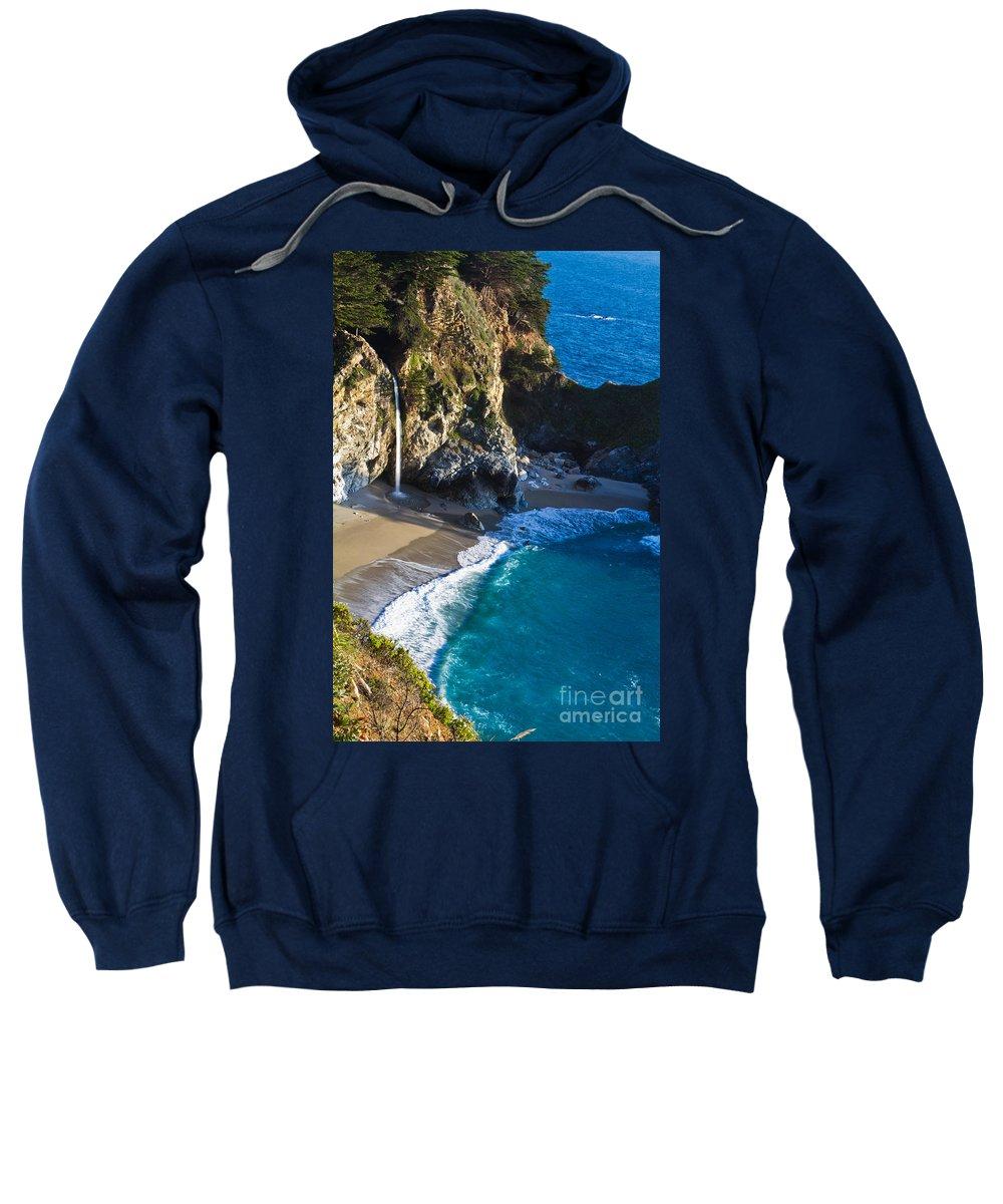 Bay Sweatshirt featuring the photograph Mcway Falls Julia Pfeiffer Bruns State Park Ca by Dan Hartford