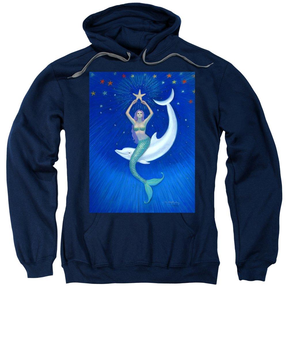 Mermaid Art Sweatshirt featuring the painting Mermaids- Dolphin Moon Mermaid by Sue Halstenberg