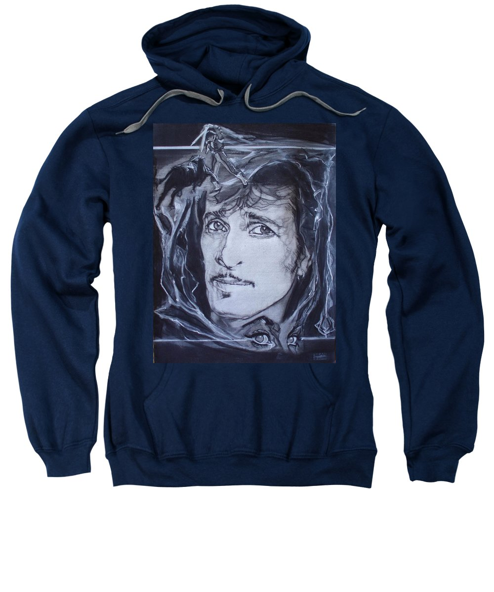 Charcoal;mink Deville;new York City;gina Lollabrigida Eyes ;cat Eyes;bullfight;toreador;swords;death;smoke;blues Sweatshirt featuring the drawing Willy Deville - Coup De Grace by Sean Connolly
