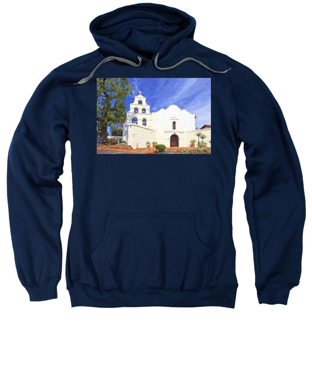 Mission Basilica San Diego De Alcala Sweatshirt featuring the digital art Mission Basilica San Diego De Alcala Usa by Liz Leyden