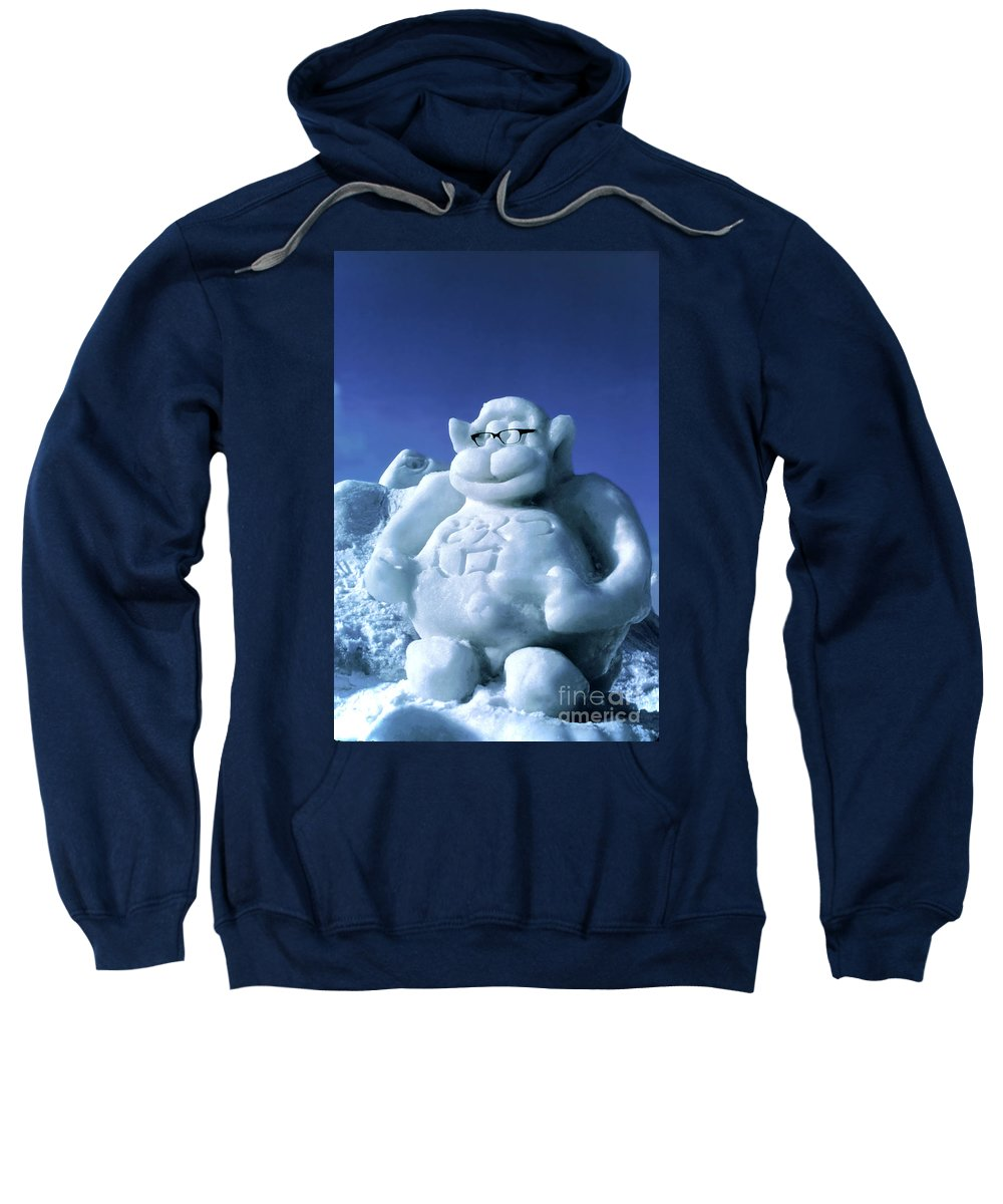 Ice Festival Sapporo Japan Carving Carvings Monkey Monkeys Snow Snowscape Snowscapes Sweatshirt featuring the photograph Monkey Business by Bob Phillips