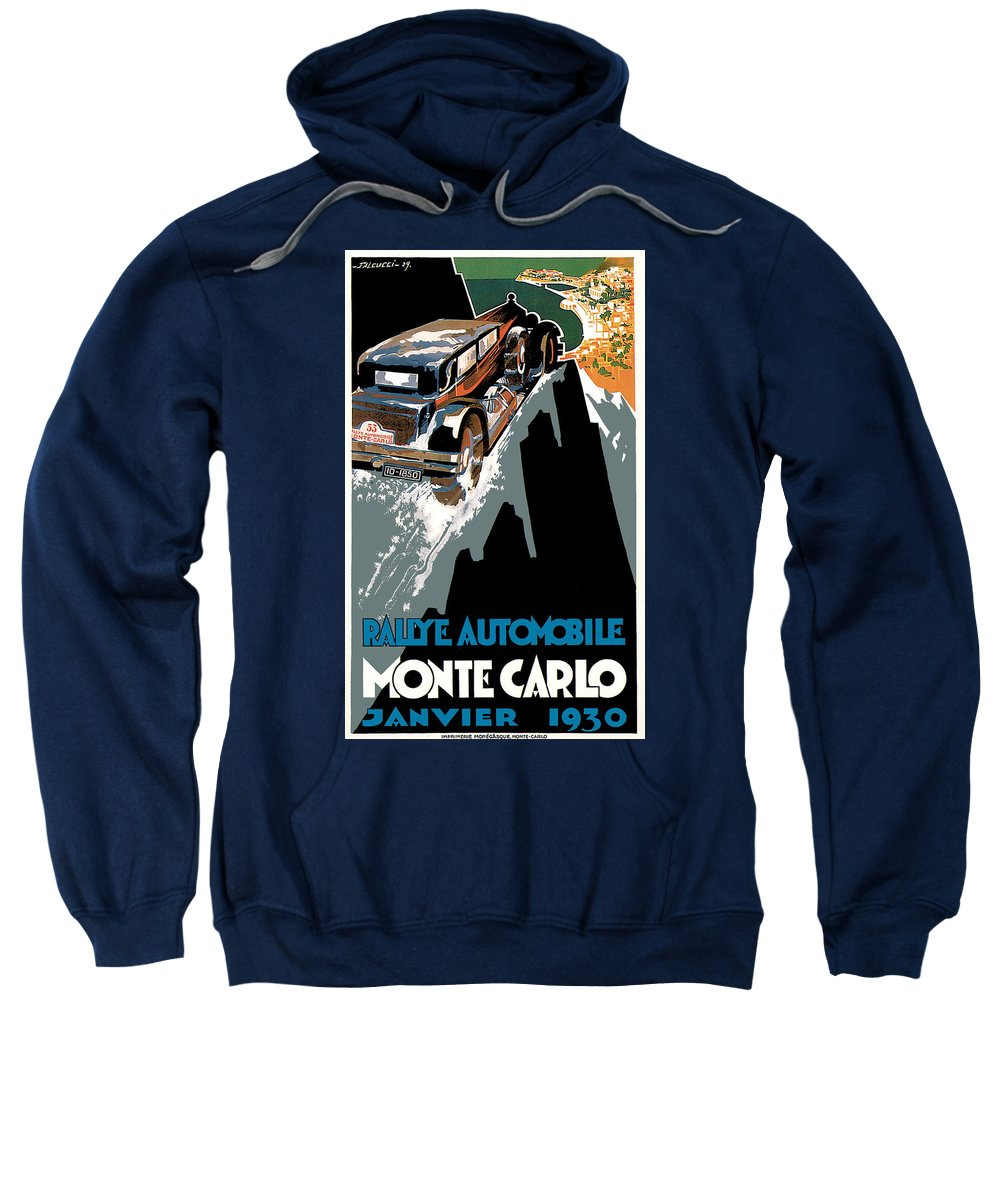Advertisement Sweatshirt featuring the drawing Monte Carlo - Vintage Poster by World Art Prints And Designs