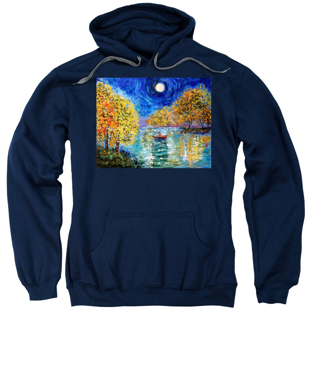 Fishing Sweatshirt featuring the painting Moonlight Fishing by Karen Tarlton